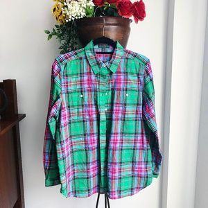 RALPH LAUREN GREEN PLAID BUTTON DOWN SHIRT